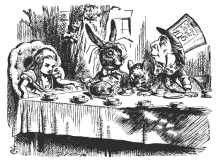 Tenniel's illustration of Alice, the March Hare, the sleeping Dormouse, and the Mad Hatter, at tea.